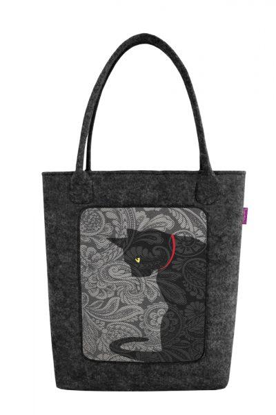 Filcová taška s motívom mačky