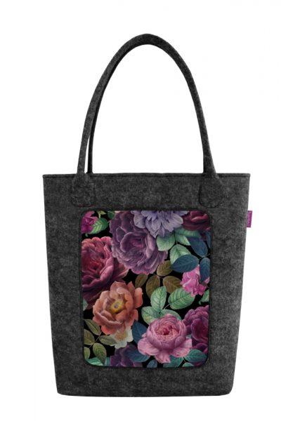 Filcová taška s kvetinovým vzorom