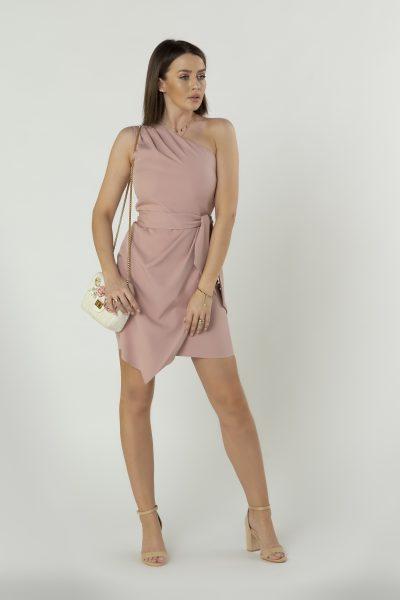 Šaty na jedno rameno s viazaním