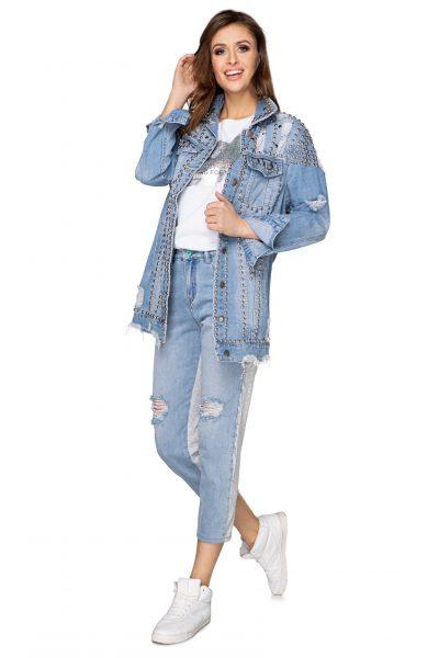 Dlhá džínsová bunda