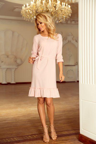 Ružové šaty s fodričkou
