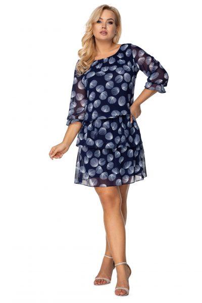 Tylové šaty s vlnami a elastickým pásom
