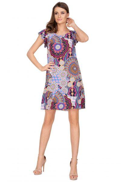 Vzorované šaty s ozdobami na rukávoch