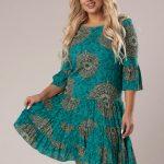 Vzorované krátke šaty so skladanou sukňou