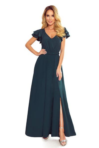 Maxi šaty s volánmi na pleciach