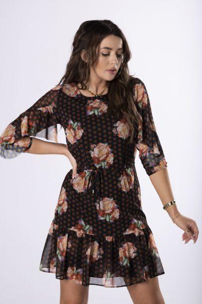 Kvetované šaty s rukávom